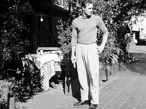 Marlon Brando Outside a Cafe