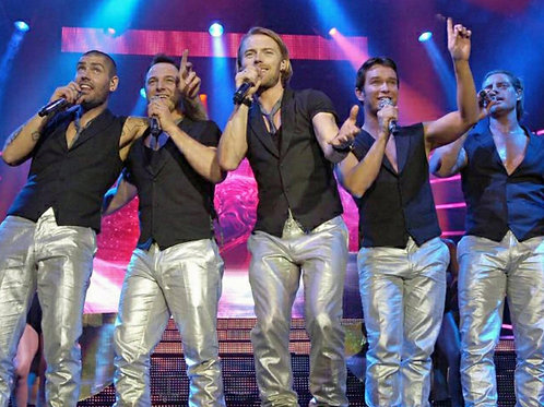 Boyzone Singing Group Wearing Silver Pants