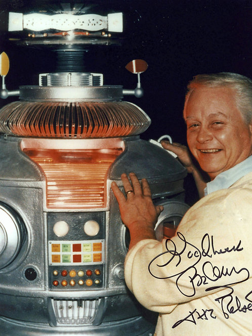 Bob May Posing with the Lost in Space Robot