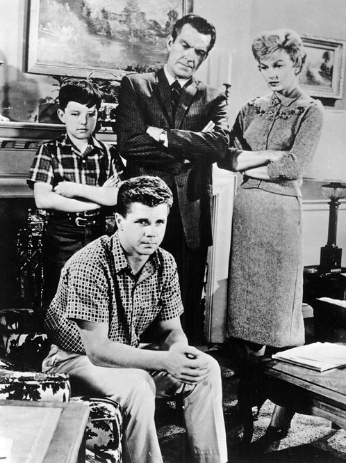 Cast of Leave it to Beaver Posing on the Living Room Set