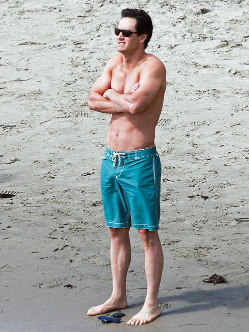 Mark Paul Gosselaar at the Beach in Clingy Green Boardshorts