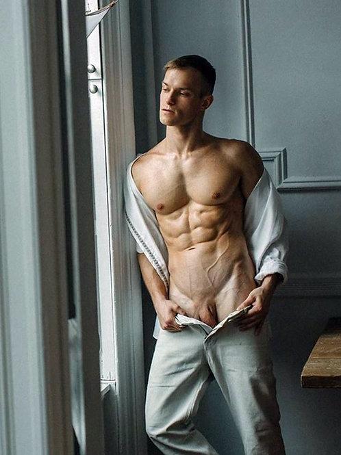 Opening his Dress Slacks