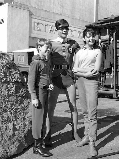 Burt Ward as Robin Posing with Lost in Space Actors Billy Mumy & Angela Cartwrig