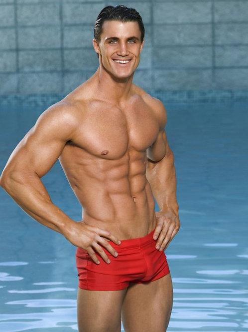 Ripped Tan Greg Plitt in a Red Swimsuit