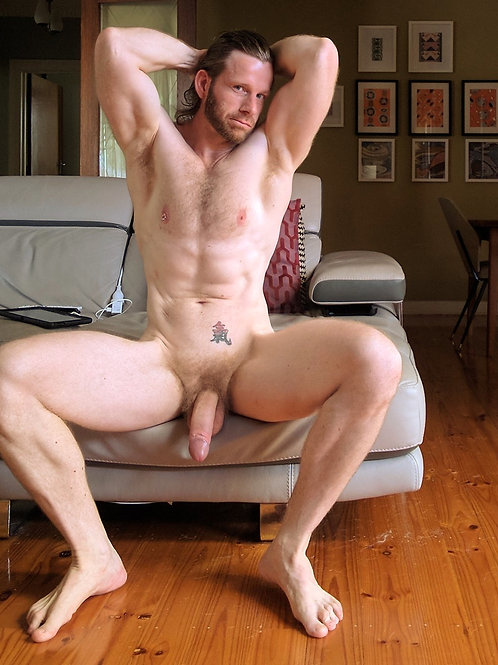Naked on his Light Grey Sofa