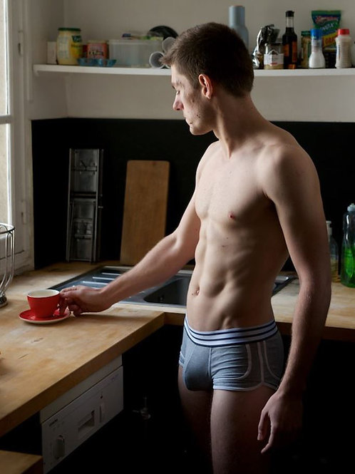 Grabbing his Red Coffee Cup