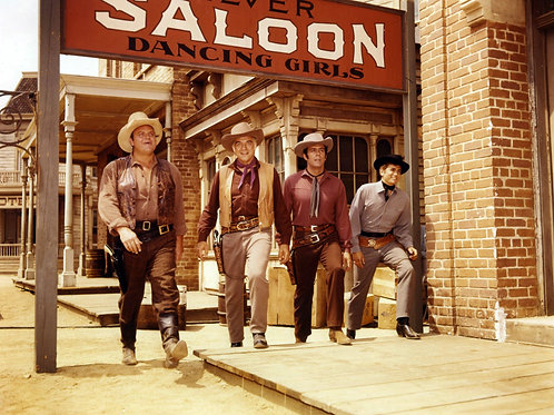 Cast of Bonanza Outside the Saloon