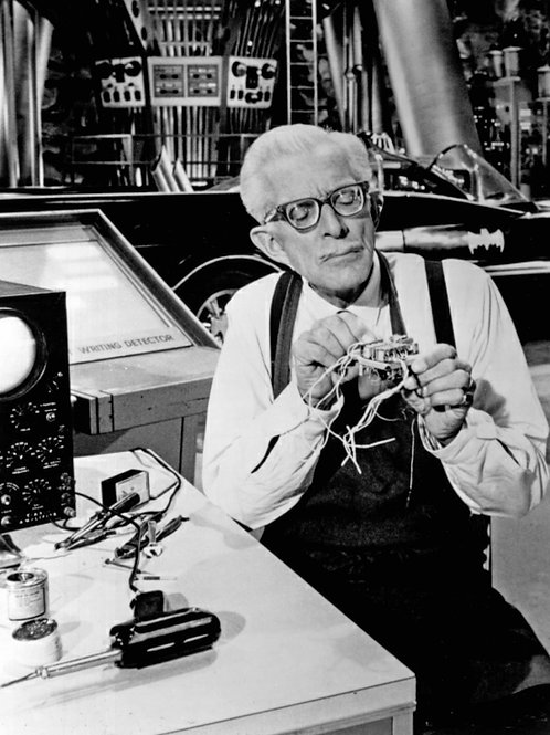 Alan Napier as Alfred in the Batcave in Batman