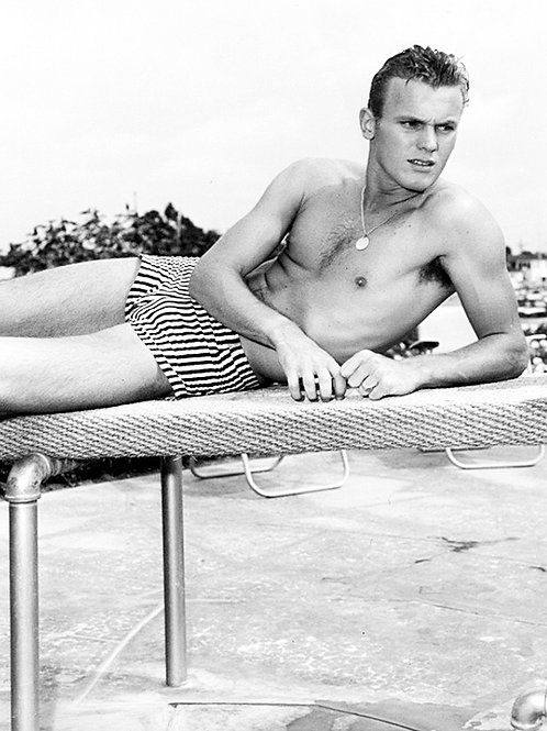 Tab Hunter Wearing a Swimsuit in 1956
