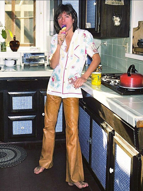 Young Barefoot David Cassidy Standing in his Kitchen