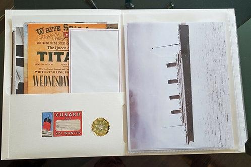 RMS Titanic 26 Piece Memorabilia Replica Collection with 7 8x10 photos
