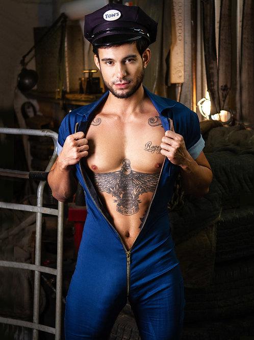Blue Jump Suit Unzipped