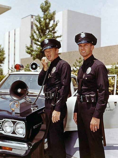 Martin Milner & Kent McCord Posing with the Police Car in Adam 12