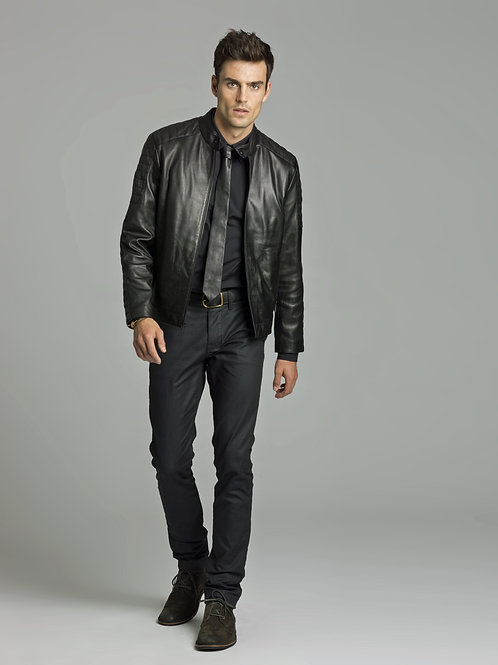 Andrew Landon in a Black Leather Jacket & Tight Jeans