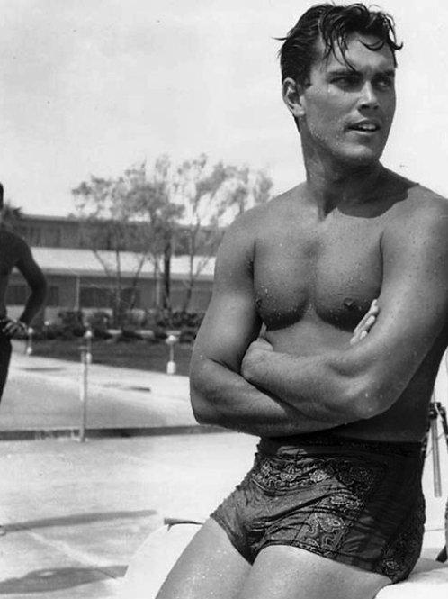 Shirtless Jeffrey Hunter in a Wet Swimsuit