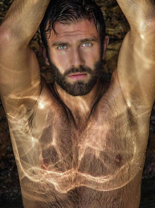 Wet Bright Eyed Bearded Man