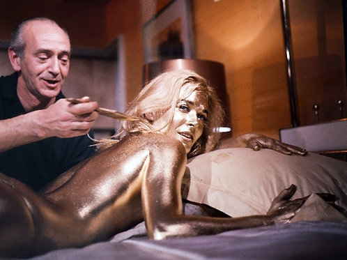 Actress Shirley Eaton Getting Made Up for the Movie Goldfinger