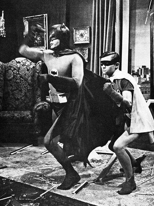 Adam West & Burt Ward as Batman & Robin Crashing Thru a Window