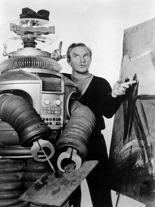 Jonathan Harris as Dr Smith Painting with the Robot in Lost in Space