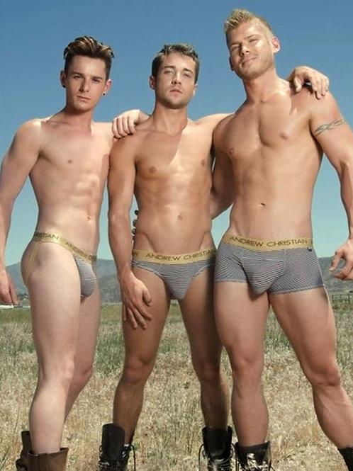 3 Cowboys in Grey Briefs