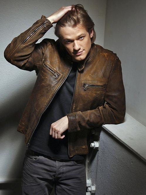 Lucas Till Wearing a Leather Jacket