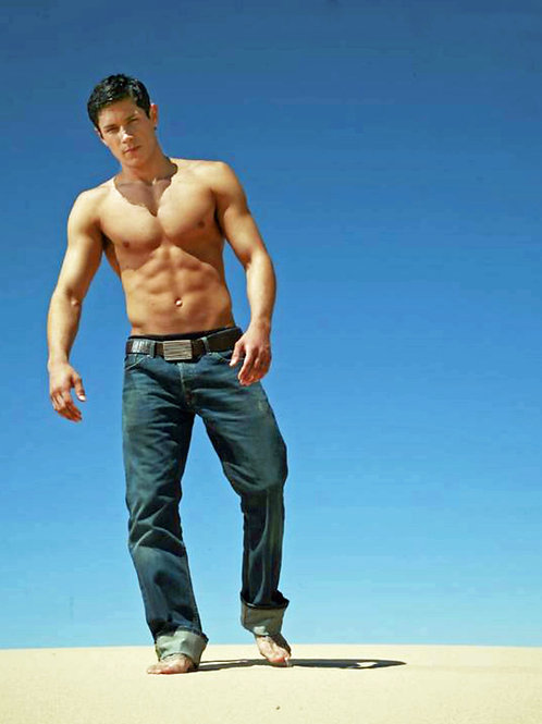 Alex Meraz Wearing No Shirt Walking on the Beach Showing off his 6 Pack