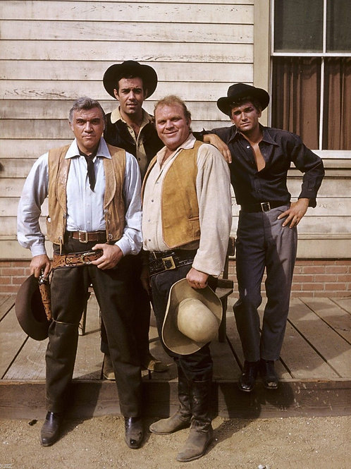 Cast of Bonanza on a Porch