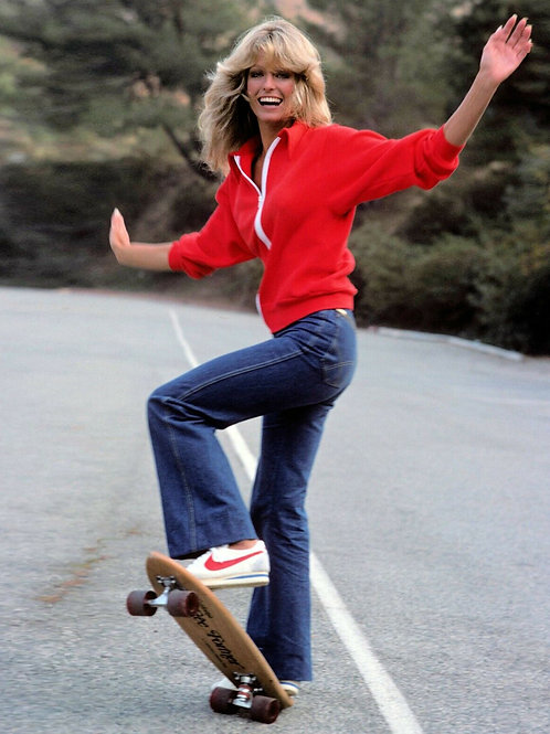 Farrah Fawcett on a Skateboard Smiling
