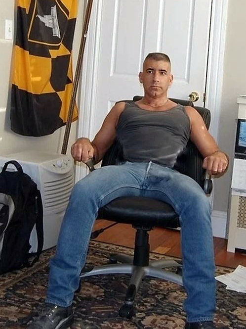 Sitting with a Boner Bulge in his Jeans