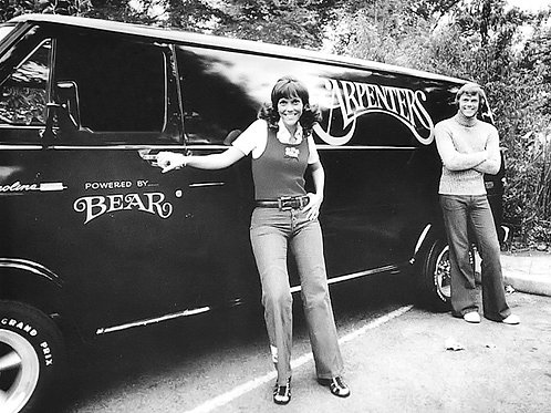 The Carpenters in the 1970s posing Near Their Van