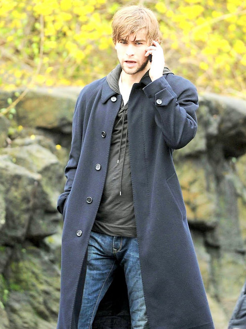 Chase Crawford Wearing a Long Coat