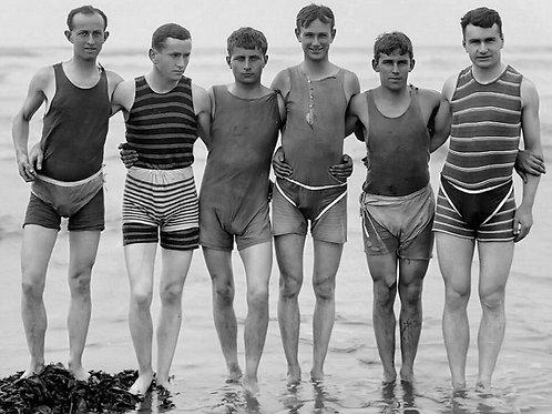 6 Vintage Guys at the Ocean