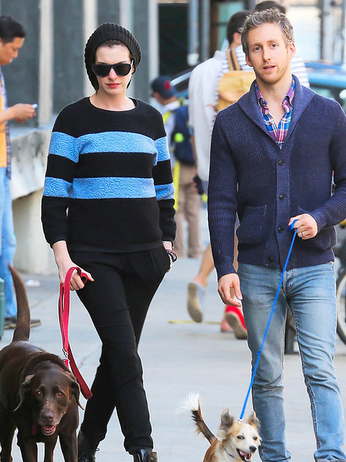 Bulging Adam Schulman Walking the Dogs with his Wife Anne Hathaway
