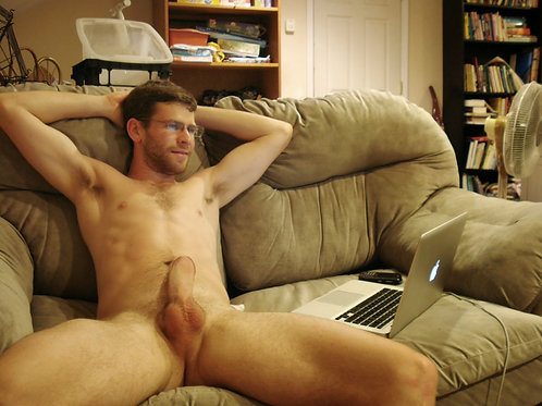 Sitting by his Laptop