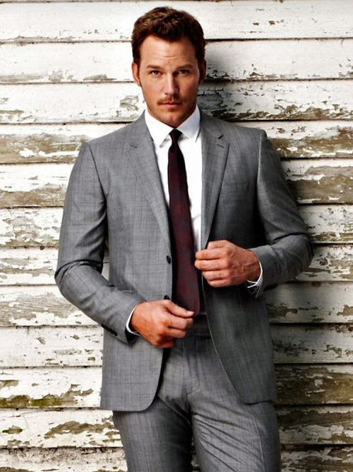 Chris Pratt Wearing a Grey Suit