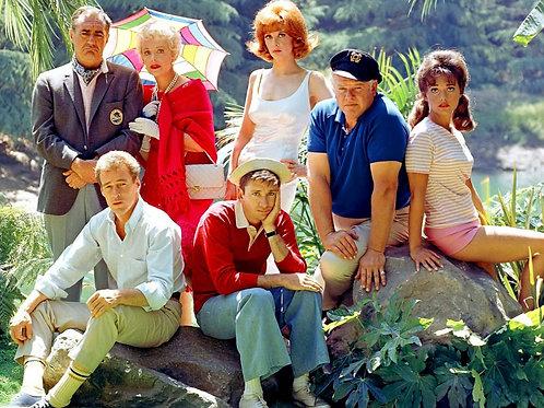 Cast of Gilligan's Island Posing Near the Lagoon