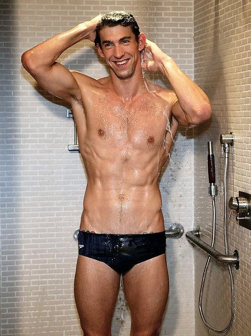 Michael Phelps Showering Wearing his Speedo