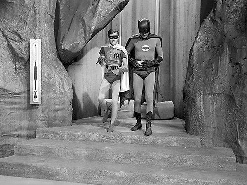 Adam West & Burt Ward in Batman Entering the Batcave From the Batpoles