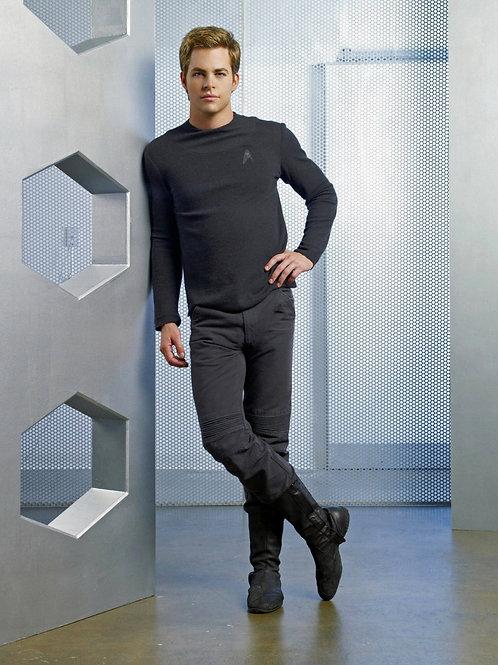Chris Pine as Captain Kirk in Star Trek Showing a Bulge in his Uniform Pants