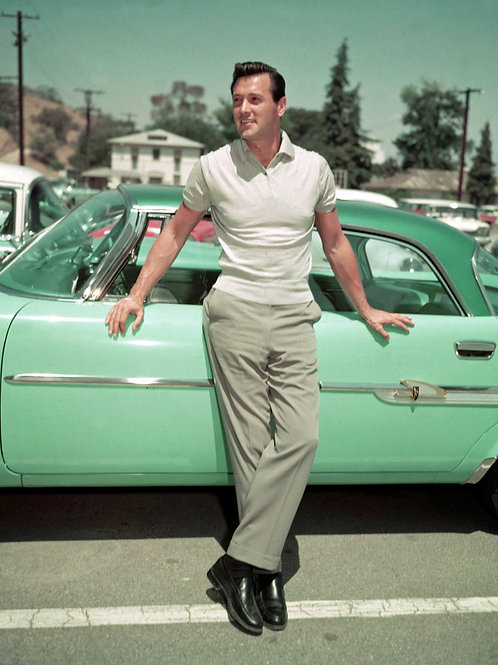 Rock Hudson Leaning against his Old Car