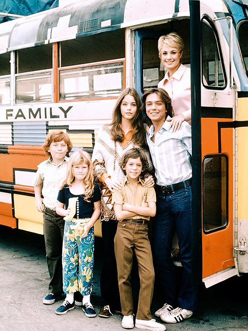 1st Season Cast of the Partridge Family Gathered at the Bus