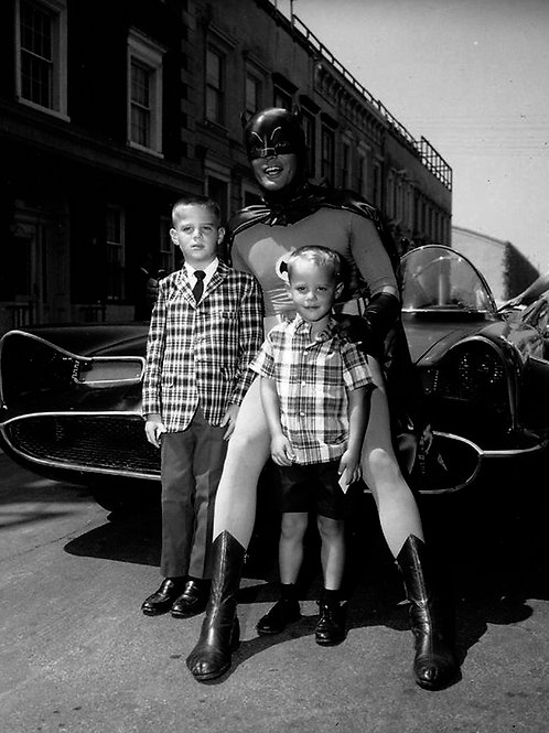 Batman Posing with Some Young Fans