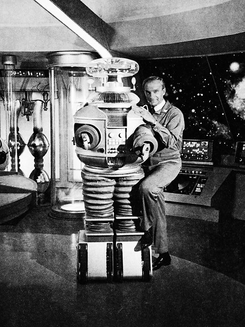 Jonathan Harris as Dr Smith Posing with the Robot on the Bridge of the Jupiter 2