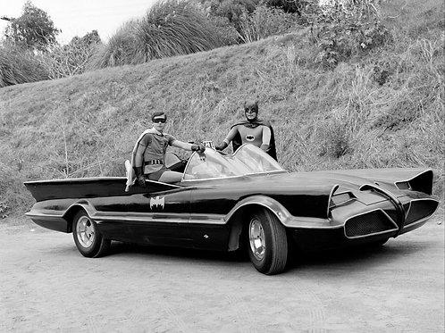 Burt Ward & Adam West Posing with the Batmobile