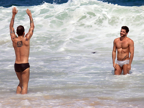 Marc Jacobs Bulging in his Speedo in the Surf with his Boyfriend Harry Louis