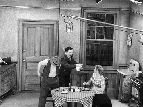 Cast of the Honeymooners on the Set with the Boom Mike Overhead