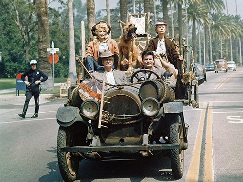 Cast of the Beverly Hillbillies Driving Thru Hollywood