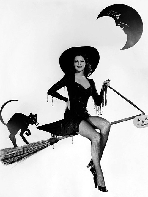 Ava Gardner as a Witch on Her Broom in the 1940s