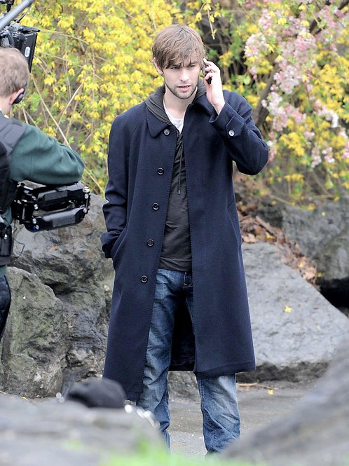 Chace Crawford on a Cellphone Wearing a Long Coat & Bulging in his Jeans