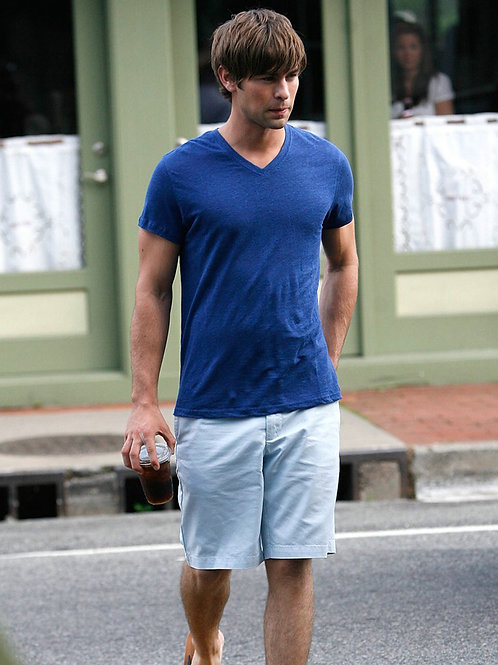 Bulging Younger Chace Crawford Wearing Light Blue Shorts